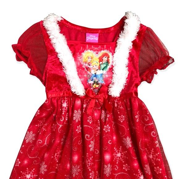 Disney Princess Christmas Red Nightgown 4T
